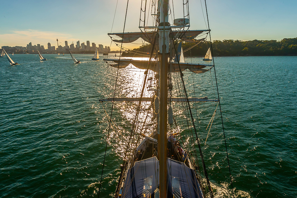 """View of Sydney Harbor from the mast of the tall ship """"Southern Swan"""", Sydney, New South Wales, Australia"""