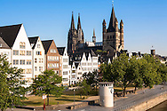 DEU, Germany, Cologne, houses in the old part of the town at the Frankenwerft, the cathedral and the church Gross St. Martin.<br /> <br /> DEU, Deutschland, Koeln, Haeuser in der Altstadt an der Frankenwerft, der Dom und die Kirche Gross St. Martin.
