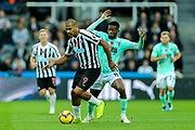 Jose Salomon Rondon (#9) of Newcastle United on the ball under pressure from Jefferson Lerma (#8) of Bournemouth during the Premier League match between Newcastle United and Bournemouth at St. James's Park, Newcastle, England on 10 November 2018.