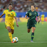 GRENOBLE, FRANCE June 18.  Allyson Swaby #17 of Jamaica defends against Sam Kerr #20 of Australia during the Jamaica V Australia, Group C match at the FIFA Women's World Cup at Stade des Alpes on June 18th 2019 in Grenoble, France. (Photo by Tim Clayton/Corbis via Getty Images)