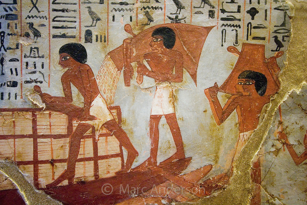 Detail of an ancient Egyptian painting in the Louvre museum, Paris, France