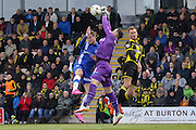 Gillingham goalkeeper Stuart Nelson makes a save during the Sky Bet League 1 match between Burton Albion and Gillingham at the Pirelli Stadium, Burton upon Trent, England on 30 April 2016. Photo by Aaron  Lupton.