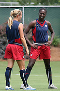 29 July 2006: Tina Frimpong (USA) (r) with Heather Mitts (USA). The United States Women's National Team trained at SAS Stadium in Cary, North Carolina, in preparation for an International Friendly match against Canada to be played on Sunday, July 30.
