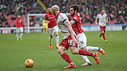 Conor Sammon (Sheffield United) runs past Romain Vincelot (Coventry City) during the Sky Bet League 1 match between Sheffield Utd and Coventry City at Bramall Lane, Sheffield, England on 13 December 2015. Photo by Mark P Doherty.
