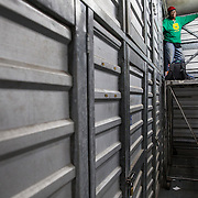 WASHINGTON, DC-OCT14: Tony Brown, 54, in his storage unit at Capital Self-Storage, October 14,  2015. Many of the area homeless have possessions they want to keep safe, just nowhere permanent to live, so they store their belongings at Capital Self-Storage, where an upper-level unit costs $30/month. Some of the homeless patrons also spend their days in their storage units, when shelters are closed during midday hours. The storage facility near 3rd and Florida Avenue in Northeast, Washington, DC, is about to be replaced by a boutique hotel. (Photo by Evelyn Hockstein/For The Washington Post)