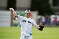 KELOWNA, CANADA - JUNE 28: NHL New Jersey Devils player Damon Severson throws the ball from the outfield during the opening charity game of the Home Base Slo-Pitch Tournament fundraiser for the Kelowna General Hospital Foundation JoeAnna's House on June 28, 2019 at Elk's Stadium in Kelowna, British Columbia, Canada.  (Photo by Marissa Baecker/Shoot the Breeze)