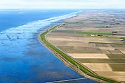 Nederland, Friesland, Gemeente Franekeradeel, 28-02-2016; Zeedijk waddenzee, wad bij hoogwater gezien naar Terschelling, ter hoogte van Polder de Koning en Het Oud Bildt. Vlakte van Oosterbierum.<br /> Vlakte van Oosterbierum, northern Friesland, tidal flat.<br /> <br /> luchtfoto (toeslag op standard tarieven);<br /> aerial photo (additional fee required);<br /> copyright foto/photo Siebe Swart