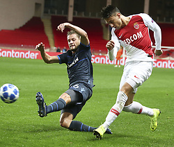 FONTVIEILLE, Nov. 7, 2018  Mats Ritz (L) of Brugge vies with Antonio Barrca of Monaco during the UEFA Champions League group A match between Monaco and Club Brugge in Fontvieille, Monaco on Nov. 6, 2018. Brugge won 4-0. (Credit Image: © Serge Haouzi/Xinhua via ZUMA Wire)