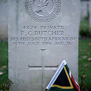 The grave of Private F.C. Butcher of the 3rd Regiment, South African Infantry died on the 15th of July 1916 at the age of 26 <br /> Delville Wood Cemetery is the third largest cemetery in in the Somme battlefield area and contains 5,523 burials of which two-thirds are unknown.There are 5,242 UK burials, 152 from South Africa, 81 from Australia, 29 from Canada and 19 from New Zealand. Almost all of the casualties date from July to September 1916 and are from the battle of Delville Wood.