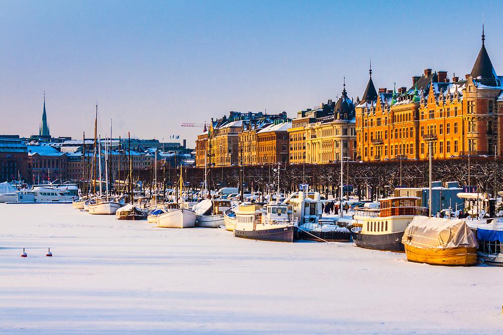 Stockholm Sweden, seascapes in winter. Vinter i sjöstaden Stockholm.