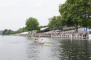 Henley, Great Britain.  Henley Royal Regatta. Leander Club and Imperial College London, row past Stewards' Enclosure, on their way to winning, the Visitors' Challenge Cup. River Thames,  Henley Reach.  Royal Regatta. River Thames Henley Reach. Sunday  14:47:10  03/07/2011  [Mandatory Credit/Intersport Images] . HRR