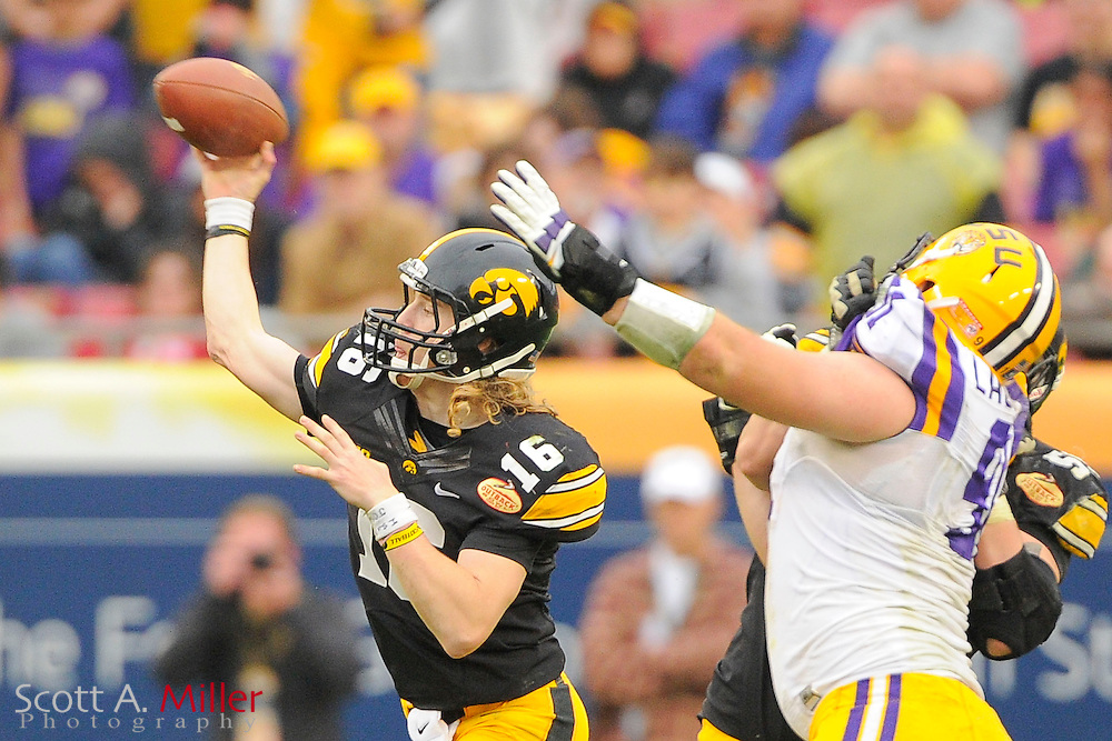 Iowa Hawkeyes quarterback C.J. Beathard (16) during the LSU Tigers 21-14 win over the Iowa Hawkeyes in the 2014 Outback Bowl at Raymond James Stadium January 1, 2014 in Tampa, Florida.      <br /> <br />  &copy; 2014 Scott A. Miller