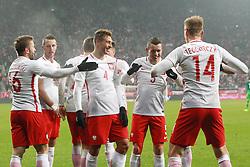 14.11.2016, Stadion Miejski, Wroclaw, POL, Testspiel, Polen vs Slowenien, im Bild OD LEWEJJAKUB BLASZCZYKOWSKI. KAMIL WILCZEK, THIAGO CIONEK, KRZYSZTOF MACZYNSKI. LUKASZ TEODORCZYK RADOSC BRAMKA GO // during the international friendly football match between Poland vs Slovenia at the Stadion Miejski in Wroclaw, Poland on 2016/11/14. EXPA Pictures &copy; 2016, PhotoCredit: EXPA/ Newspix/ Jakub Piasecki<br /> <br /> *****ATTENTION - for AUT, SLO, CRO, SRB, BIH, MAZ, TUR, SUI, SWE, ITA only*****