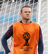 Wayne Rooney of England looks on during the England training session the day before their final Group D match against Costa Rica at Mineirão, Belo Horizonte, Brazil. <br /> Picture by Andrew Tobin/Focus Images Ltd +44 7710 761829<br /> 23/06/2014