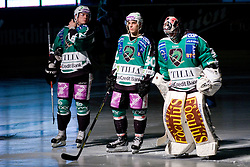 Jan Chabera, Tomi Mustonen and Eric Pance of HDD Tilia Olimpija during ice-hockey match between HDD Tilia Olimpija and SAPA Fehervar AV19 in 51st Round of EBEL league, on Februar 18, 2011 at Hala Tivoli, Ljubljana, Slovenia. (Photo By Matic Klansek Velej / Sportida.com)