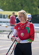 Plovdiv, Bulgaria, {DATE, }FISA, Rowing World Cup 1,   Ekaterina KARSTEN, BLR, W1X, carrying sculls, [© Karon PHILLIPS/ Intersport Images]