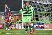 Forest Green Rovers Dayle Grubb(8) scores a goal 2-2 and celebrates with Forest Green Rovers Christian Doidge(9) during the EFL Sky Bet League 2 match between Forest Green Rovers and Cambridge United at the New Lawn, Forest Green, United Kingdom on 20 January 2018. Photo by Shane Healey.