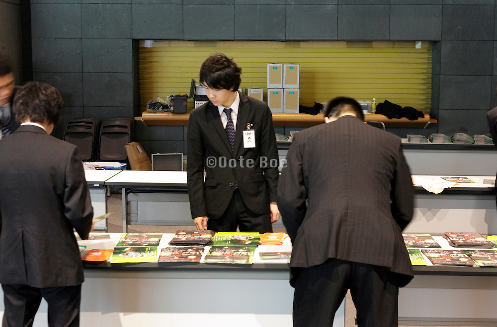 young Japanese business people job hunting Tokyo