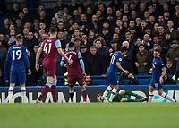 Football - 2019 / 2020 Premier League - Chelsea vs. West Ham United<br /> <br /> David Martin (West Ham United) secures the ball before Pedro (Chelsea FC) can pounce at Stamford Bridge <br /> <br /> COLORSPORT/DANIEL BEARHAM