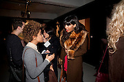 ROX; JAMEELA JAMIL, Richard Hambleton private view.- New York- Godfather of Street art presented by Vladimir Restoin Roitfeld and Andy Valmorbida in collaboration with Giorgio armani. The Old Dairy. London. 18 November 2010. -DO NOT ARCHIVE-© Copyright Photograph by Dafydd Jones. 248 Clapham Rd. London SW9 0PZ. Tel 0207 820 0771. www.dafjones.com.