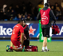 Mako Vunipola of Saracens receives medical attention<br /> <br /> Photographer Simon King/Replay Images<br /> <br /> European Rugby Champions Cup Round 4 - Cardiff Blues v Saracens - Saturday 15th December 2018 - Cardiff Arms Park - Cardiff<br /> <br /> World Copyright © Replay Images . All rights reserved. info@replayimages.co.uk - http://replayimages.co.uk