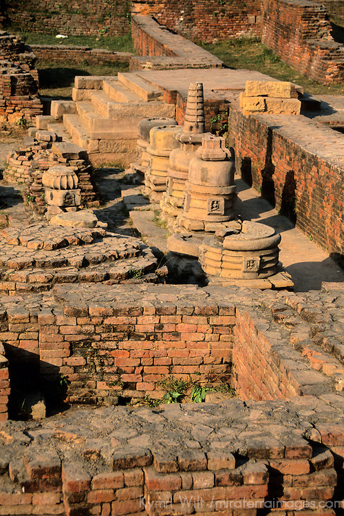 Asia, India, Sarnath. Archeological ruins at Sarnath.