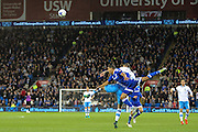 Lee Peltier of Cardiff City and Daniel Pudil of Sheffield Wednesday during the EFL Sky Bet Championship match between Cardiff City and Sheffield Wednesday at the Cardiff City Stadium, Cardiff, Wales on 19 October 2016. Photo by Andrew Lewis.