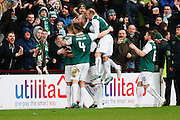 Hibernian FC Forward Jason Cummings celebrates the opening goal during the Scottish League Cup semi-final match between Hibernian and St Johnstone at Tynecastle Stadium, Gorgie, Scotland on 30 January 2016. Photo by Craig McAllister.