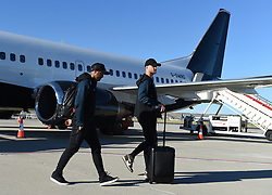MADRID, SPAIN - Wednesday, May 29, 2019: Tottenham Hotspur's Lucas Moura (L) and Eric Dier (R) arrive at the Adolfo Suarez Madrid-Barajas Airport ahead of the UEFA Champions League Final between Tottenham Hotspur FC and Liverpool FC. (Pic by Denis Doyle/UEFA)