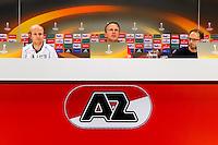 ALKMAAR - 21-10-2015, Persconferentie AZ - FC Augsburg, AFAS Stadion, AZ speler Jop van der Linden, AZ trainer John van den Brom.