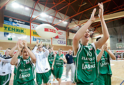 Alen Omic of Lasko celebrates after winning the basketball match between KK Geoplin Slovan and KK Zlatorog Lasko in 4th Quarterfinal of Spar Slovenian Cup, on February 11, 2011 in Sportna dvorana Poden, Skofja Loka, Slovenia. Zlatorog defeated Slovan 79-72. (Photo By Vid Ponikvar / Sportida.com)