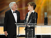 Dick Van Dyke presents Life Acheivement winner to Mary Tyler Moore. The 18th Annual Screen Actors Guild Awards were held at the Shrine Exposition Center in Los Angeles, CA 1/29/2012(John McCoy/Staff Photographer)