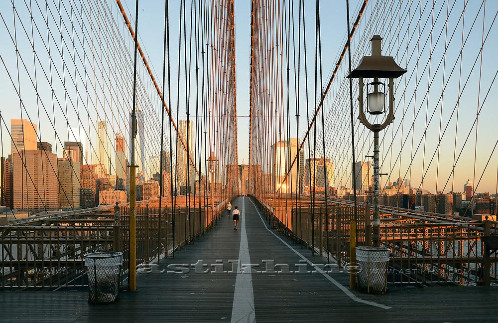 Morning on Brooklyn Bridge.
