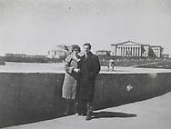 Marina and Lee Harvey Oswald on bridge in Minsk...Photograph: Warren Commission/ Dennis Brack Archives