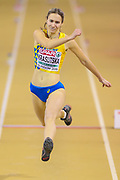 Anna Krasutska (Ukraine) Women's Triple Jump, during the European Athletics Indoor Championships at Emirates Arena, Glasgow, United Kingdom on 3 March 2019.