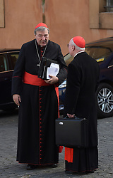 File photo - Cardinal George Pell (Australia) arrives at a special consistory in the Synod hall at the Vatican on February 13, 2015. Cardinal George Pell has been found guilty of sexual offences in Australia, making him the highest-ranking Catholic figure to receive such a conviction. Pell abused two choir boys in the rooms of a Melbourne cathedral in 1996, a jury found. He had pleaded not guilty. The verdict was handed down in December, but it could not be reported until now due to legal reasons. Pell is due to face sentencing hearings from Wednesday. He has lodged an appeal against his conviction.. Photo by Eric Vandeville/ABACAPRESS.COM