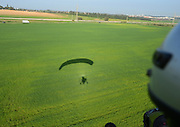 Silhouette of a Motor Paraglider Photographed in Israel, Coastal Plains