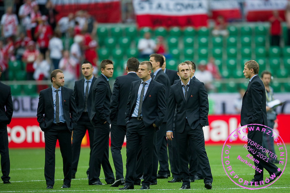 (L) Tomasz Frankowski & (4L) Poland's Kamil Grosicki (nr21) & (2R) Poland's Adrian Mierzejewski (nr18) & (R) Poland's Rafal Murawski (nr11) before the UEFA EURO 2012 Group A football match between Poland and Czech Republic at Municipal Stadium in Wroclaw on June 16, 2012...Poland, Wroclaw, June 16, 2012..Picture also available in RAW (NEF) or TIFF format on special request...For editorial use only. Any commercial or promotional use requires permission...Photo by © Adam Nurkiewicz / Mediasport
