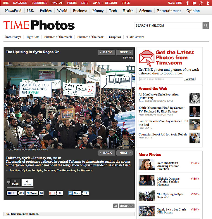 """Screengrab of """"Uprising in Syria rages on"""" published in TIME.com"""