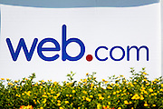 The Web.com logo is seen on a placard behind a tee box during the 2012 Price Cutter Charity Championship at Highland Springs Country Club on August 10, 2012 in Springfield, Missouri. (David Welker/www.TurfImages.com).