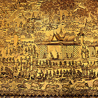 Golden Bas Relief at Wat Mai in Luang Prabang, Laos<br />