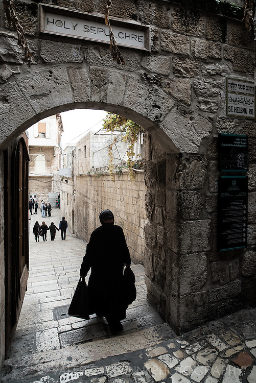 The entrance to the courtyard in front of the Church of the Holy Sepulchre in the Christian quarter of Jerusalem Old City