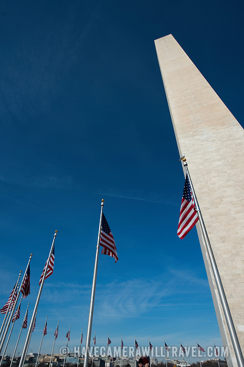 Built to honor George Washington, the country's first president, the 555-foot marble obelisk towers over Washington DC and stands in the center of the National Mall.