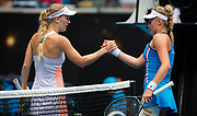 Caroline Wozniacki of Denmark and Dayana Yastremska of the Ukraine at the net after their second round match at the 2020 Australian Open, WTA Grand Slam tennis tournament on January 22, 2020 at Melbourne Park in Melbourne, Australia - Photo Rob Prange / Spain ProSportsImages / DPPI / ProSportsImages / DPPI