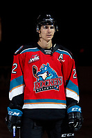 KELOWNA, BC - OCTOBER 2:  Dillon Hamaliuk #22 of the Kelowna Rockets stands on the blue line for the national anthem against the Tri-City Americans at Prospera Place on October 2, 2019 in Kelowna, Canada. Hamaliuk is a 2019 NHL entry draft pick of the San Jose Sharks. (Photo by Marissa Baecker/Shoot the Breeze)