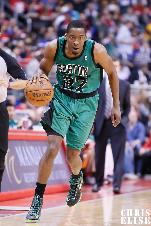 08 January 2014: Boston Celtics shooting guard Jordan Crawford (27) brings the ball up court during the Los Angeles Clippers 111-105 victory over the Boston Celtics at the Staples Center, Los Angeles, California, USA.