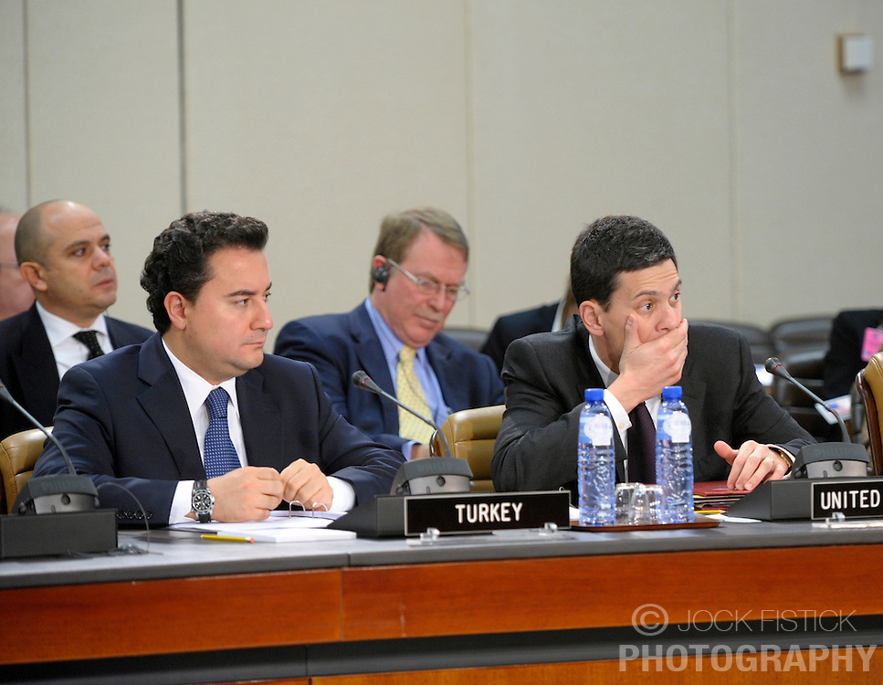 Ali Babacan, Turkey's foreign minister, left, and David Miliband, UK's foreign minister, listen during the NATO - Georgia council, at NATO headquarters in Brussels, Belgium, Wednesday, Dec. 3, 2008. (Photo © Jock Fistick).