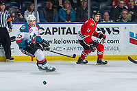 KELOWNA, CANADA - MARCH 2: Cole Carrier #12 of the Kelowna Rockets looks for the pass against the Portland Winterhawks  on March 2, 2019 at Prospera Place in Kelowna, British Columbia, Canada.  (Photo by Marissa Baecker/Shoot the Breeze)