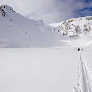 Mark Kogelmann, Tyler Hatcher, and Peder Bottheim head off to ski on Mount Herman in the Mount Baker backcountry