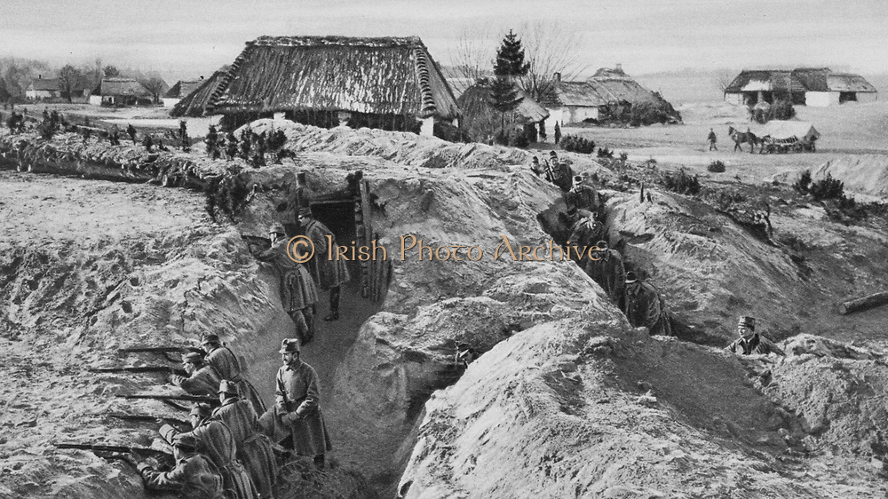 World War I 1914-1918: Austrian infantry in a trench complex, Jaisonna, Poland, 1915.  Military, Army, Soldier, Fortification, Defences, Weapon, Rifle